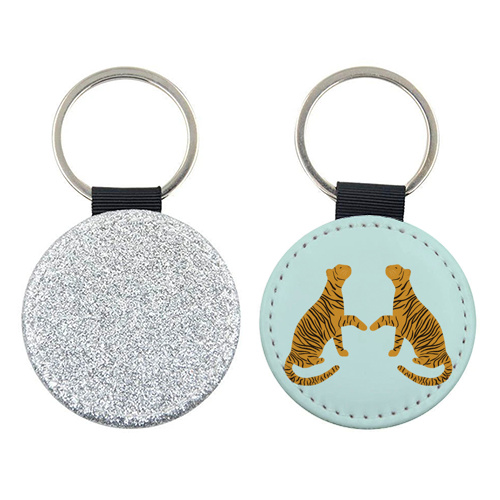 Mirrored Tigers - personalised leather keyring by Ella Seymour