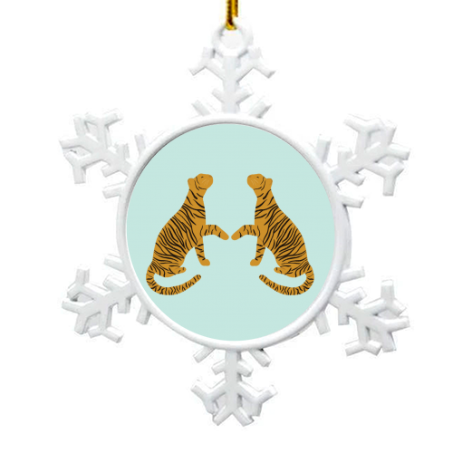 Mirrored Tigers - snowflake decoration by Ella Seymour