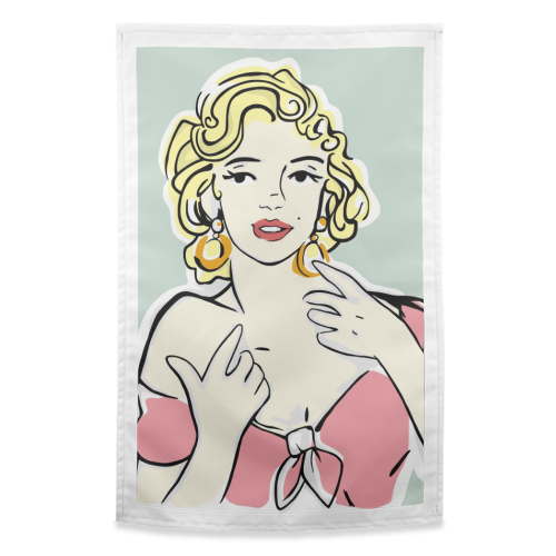 Marilyn - funny tea towel by Bec Broomhall