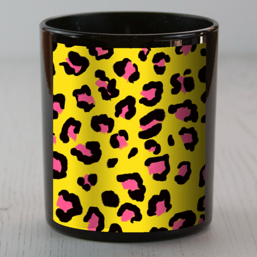 Leopard print yellow and pink - Candle by Cheryl Boland
