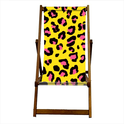 Leopard print yellow and pink - canvas deck chair by Cheryl Boland
