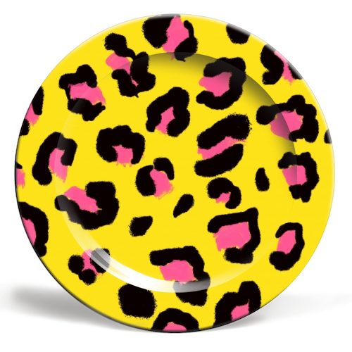 Leopard print yellow and pink - ceramic dinner plate by Cheryl Boland