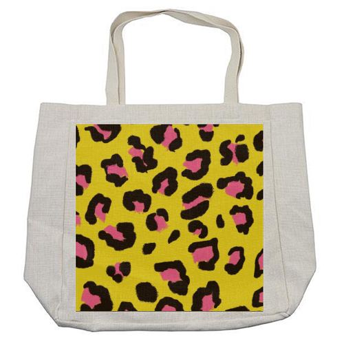 Leopard print yellow and pink - cool beach bag by Cheryl Boland