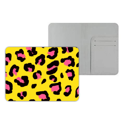Leopard print yellow and pink - designer passport cover by Cheryl Boland