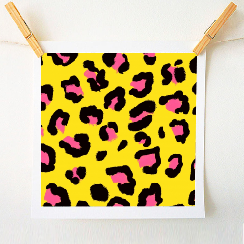 Leopard print yellow and pink - original print by Cheryl Boland