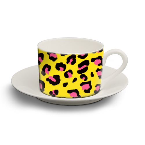 Leopard print yellow and pink - personalised cup and saucer by Cheryl Boland
