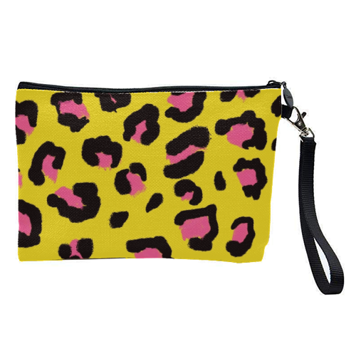 Leopard print yellow and pink - pretty makeup bag by Cheryl Boland