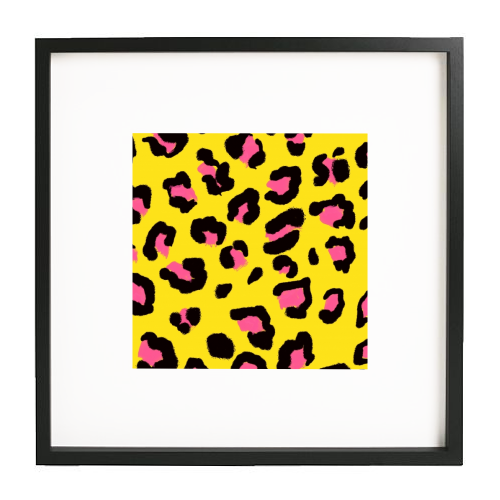 Leopard print yellow and pink - printed framed picture by Cheryl Boland
