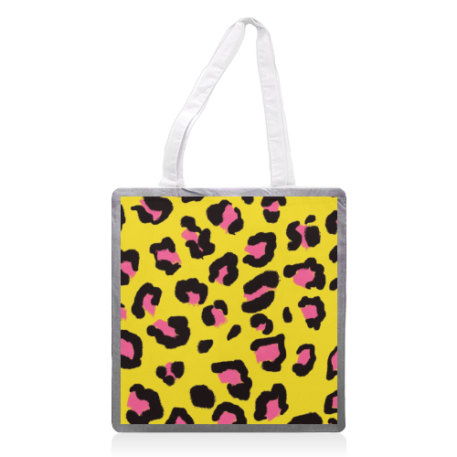 Leopard print yellow and pink - printed tote bag by Cheryl Boland