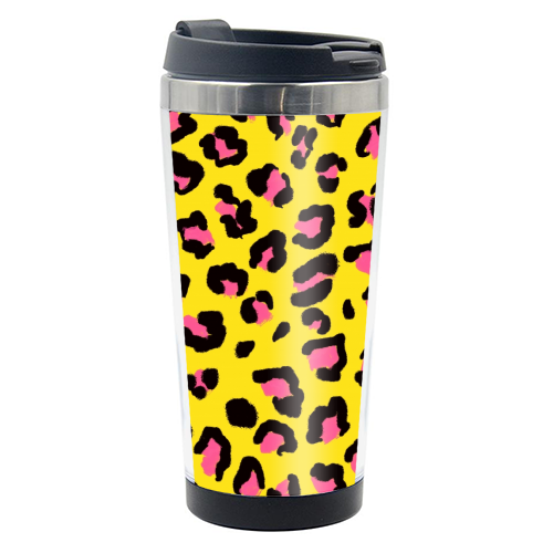 Leopard print yellow and pink - travel water bottle by Cheryl Boland