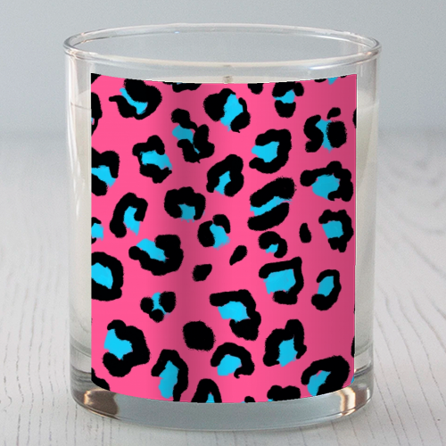 Leopard print pink and blue - Candle by Cheryl Boland