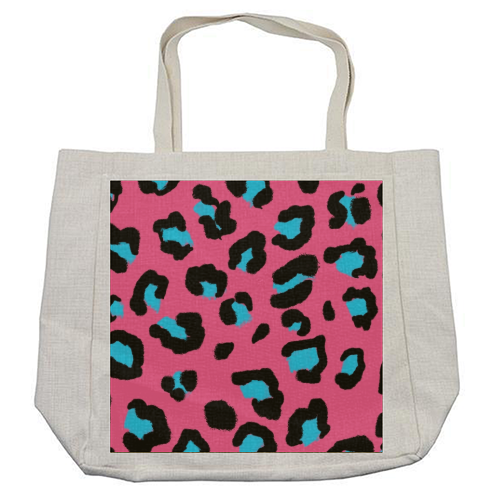 Leopard print pink and blue - cool beach bag by Cheryl Boland
