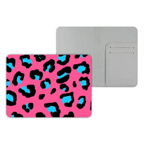 Leopard print pink and blue - designer passport cover by Cheryl Boland