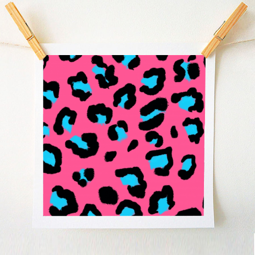 Leopard print pink and blue - original print by Cheryl Boland