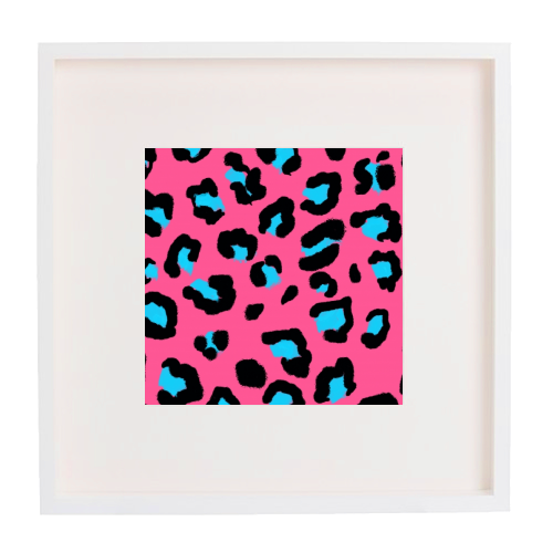 Leopard print pink and blue - printed framed picture by Cheryl Boland