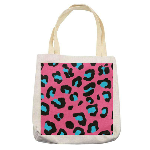 Leopard print pink and blue - printed tote bag by Cheryl Boland