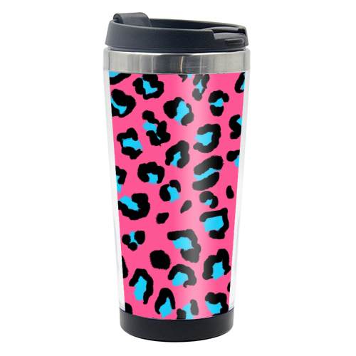 Leopard print pink and blue - travel water bottle by Cheryl Boland