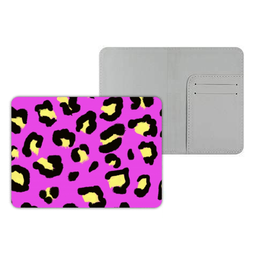 Leopard print magenta and yellow - designer passport cover by Cheryl Boland