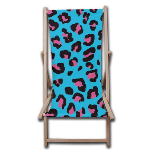 Leopard print blue and pink - canvas deck chair by Cheryl Boland