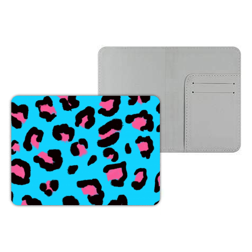 Leopard print blue and pink - designer passport cover by Cheryl Boland