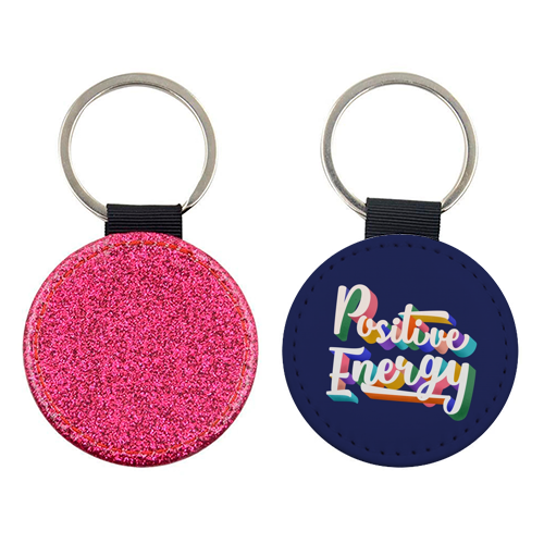 Positive Energy Typography - personalised leather keyring by Ania Wieclaw