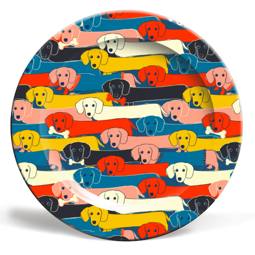 Long dog pattern - ceramic dinner plate by Ania Wieclaw