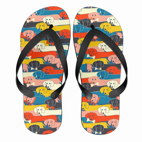 Long dog pattern - funny flip flops by Ania Wieclaw