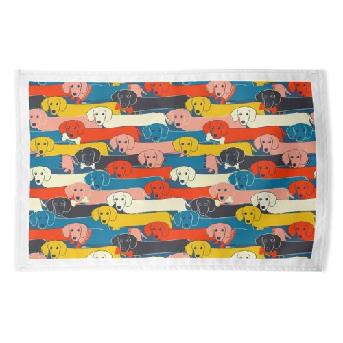 Long dog pattern - funny tea towel by Ania Wieclaw