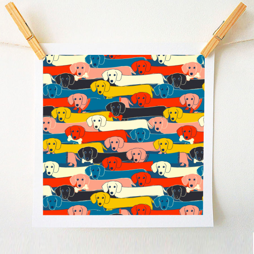 Long dog pattern - original print by Ania Wieclaw