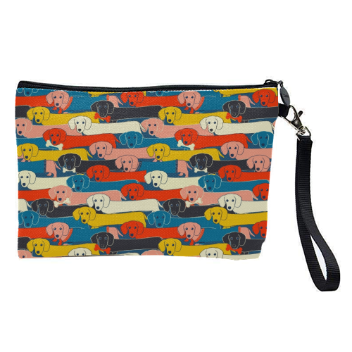Long dog pattern - pretty makeup bag by Ania Wieclaw
