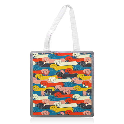 Long dog pattern - printed tote bag by Ania Wieclaw