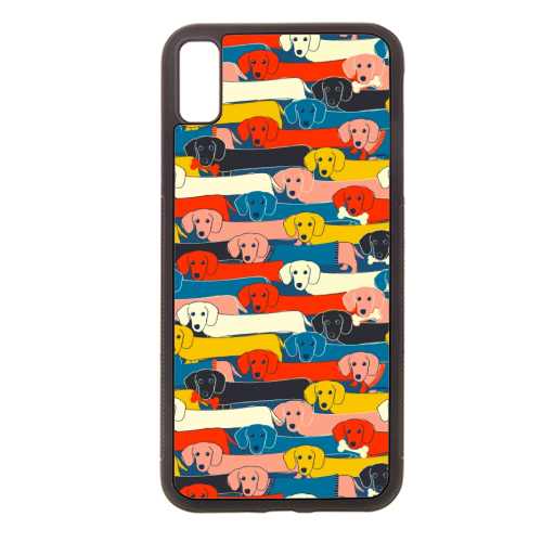 Long dog pattern - Rubber phone case by Ania Wieclaw