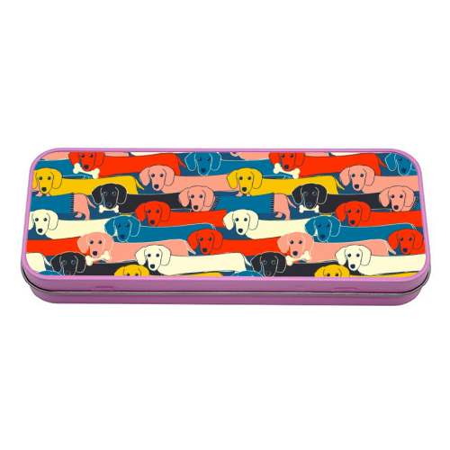 Long dog pattern - tin pencil case by Ania Wieclaw