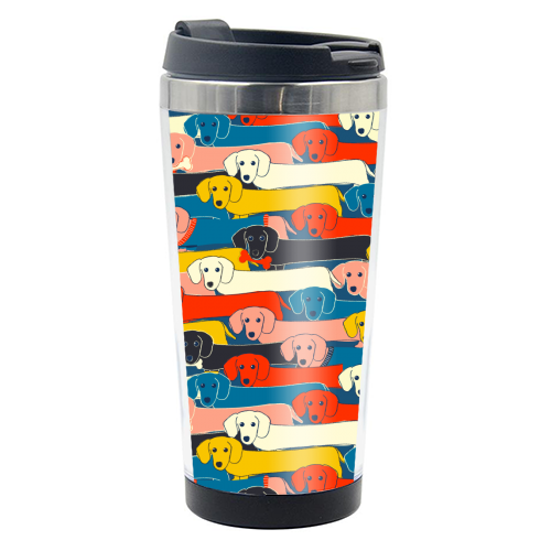 Long dog pattern - travel water bottle by Ania Wieclaw