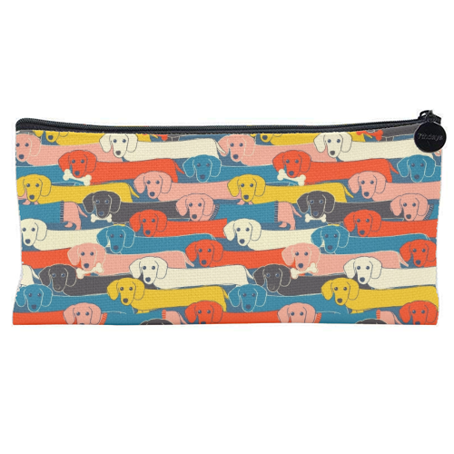 Long dog pattern - unique pencil case by Ania Wieclaw