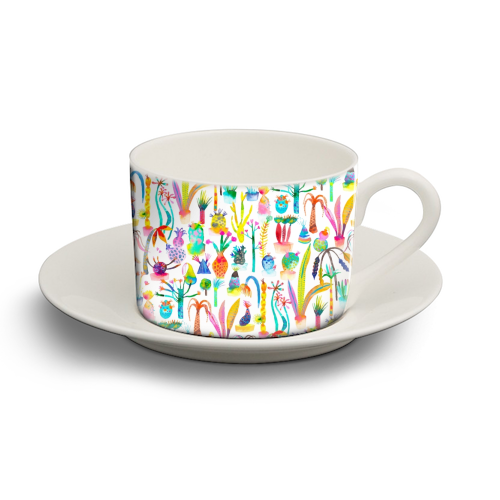Watercolor Lush Garden - personalised cup and saucer by Ninola Design