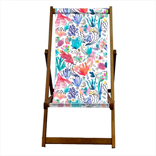 Watercolor Coral Reef - canvas deck chair by Ninola Design