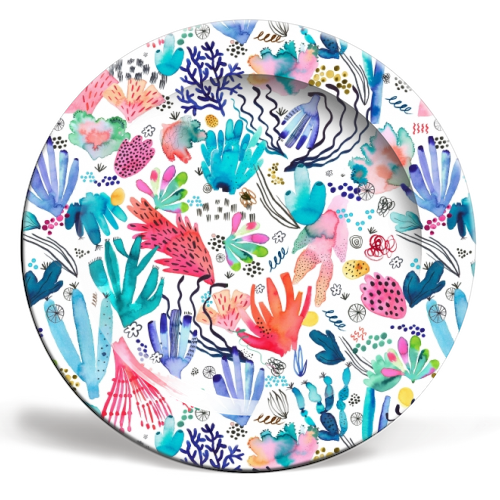 Watercolor Coral Reef - ceramic dinner plate by Ninola Design