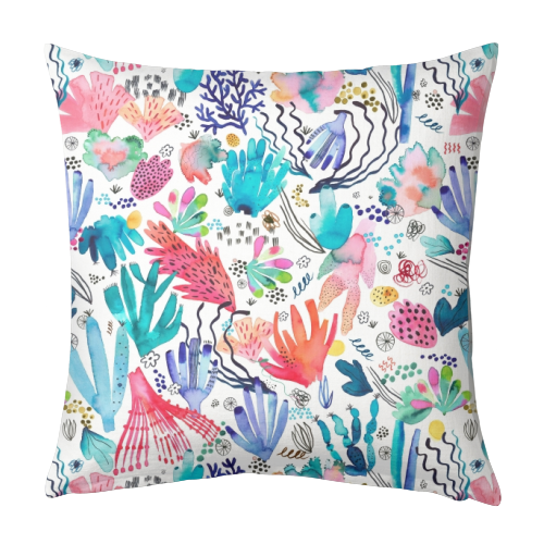 Watercolor Coral Reef - designed cushion by Ninola Design