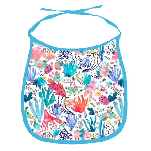 Watercolor Coral Reef - funny baby bib by Ninola Design
