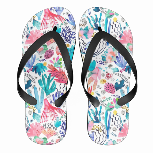 Watercolor Coral Reef - funny flip flops by Ninola Design
