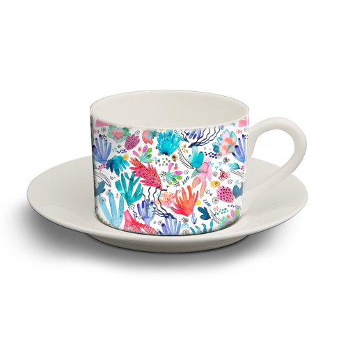 Watercolor Coral Reef - personalised cup and saucer by Ninola Design