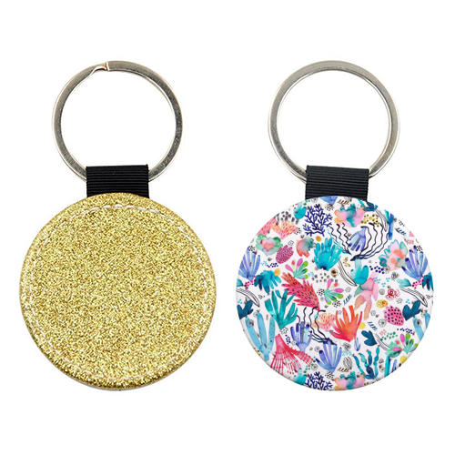 Watercolor Coral Reef - personalised picture keyring by Ninola Design