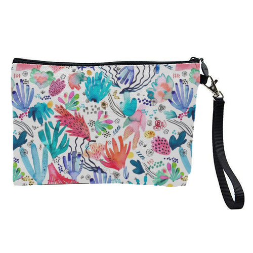 Watercolor Coral Reef - pretty makeup bag by Ninola Design
