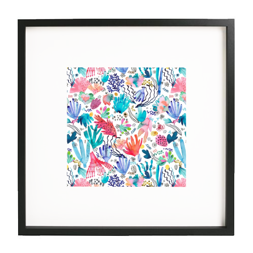 Watercolor Coral Reef - printed framed picture by Ninola Design