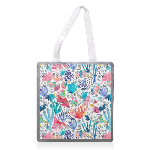 Watercolor Coral Reef - printed tote bag by Ninola Design