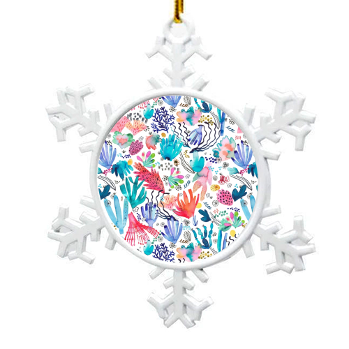 Watercolor Coral Reef - snowflake decoration by Ninola Design