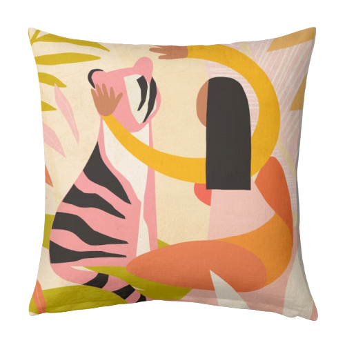 The Fearless Hug - Girl and Tiger #friendship #kindness - designed cushion by Dominique Vari