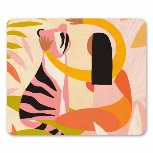 The Fearless Hug - Girl and Tiger #friendship #kindness - personalised mouse mat by Dominique Vari