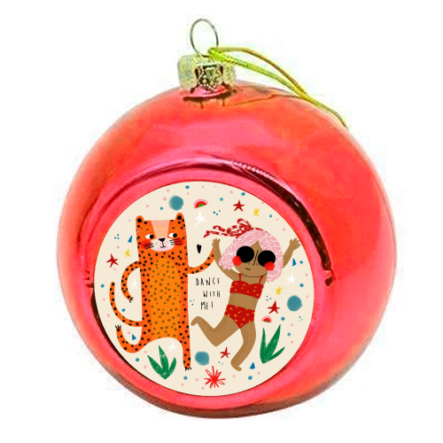 DANCE WITH ME - colourful christmas bauble by Nichola Cowdery